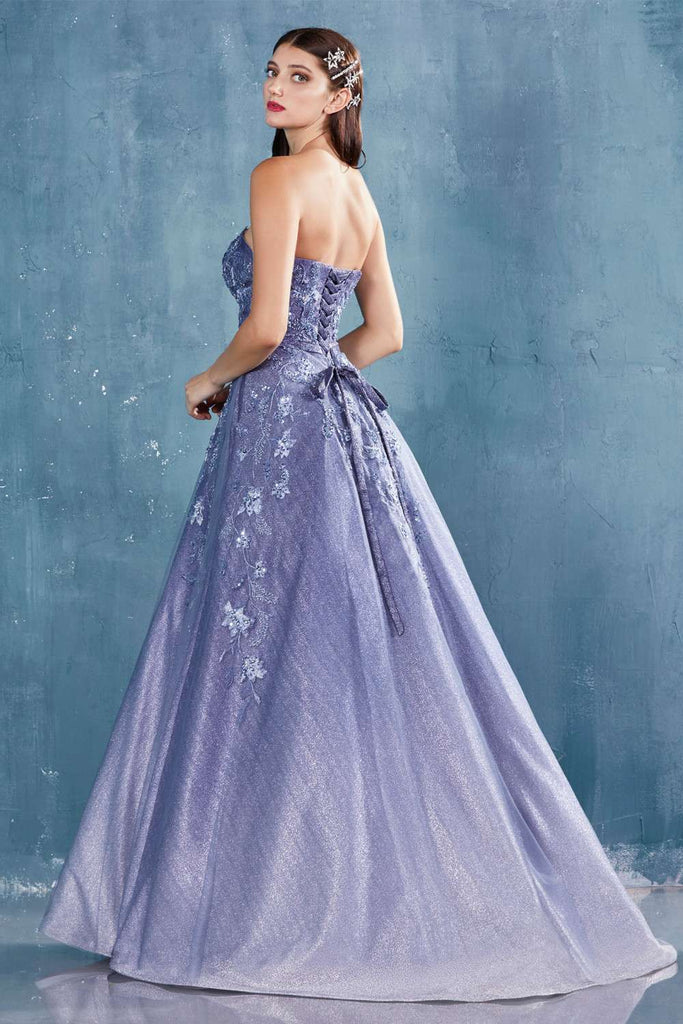 Lace-Up Back Blue Strapless Long Prom Dress with Floral Appliques