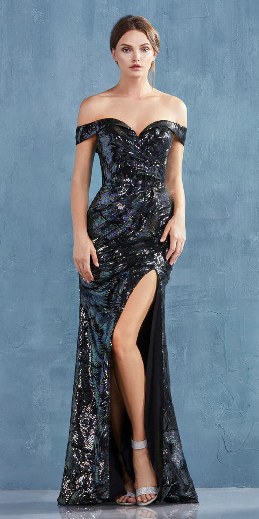 Andrea & Leo A0918 Long Off The Shoulder Metallic Black Sequin Gown Leg Slit Sweetheart Neck