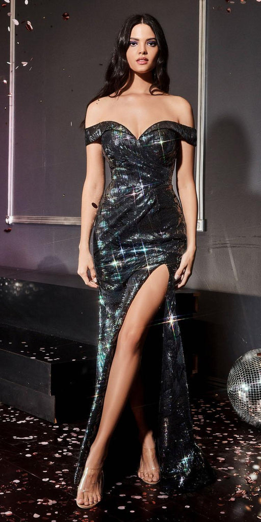Cinderella Divine A0918 Long Off The Shoulder Metallic Black Sequin Gown Leg Slit Sweetheart Neck