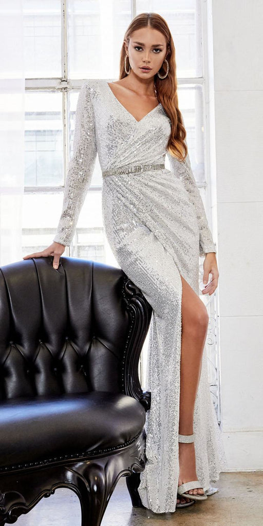 Andrea & Leo A0938 Long Sleeved Ruched Sequined Sheath Silver Gown Buckle Belt Front Slit