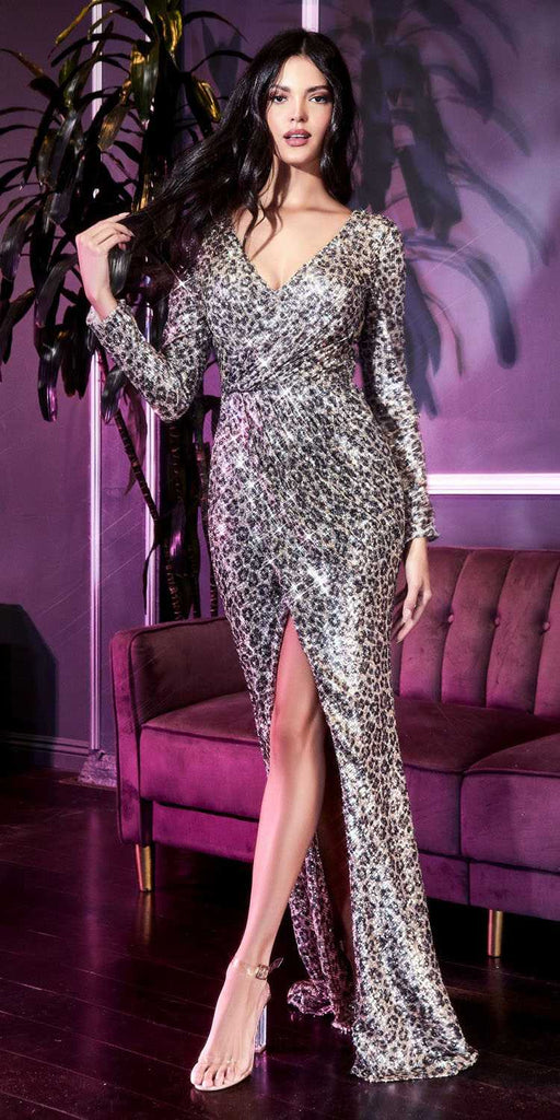 Long Sleeved Ruched Sheath Silver Sequins Gown Buckle Belt Front Slit