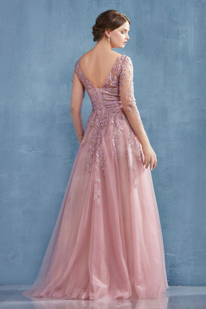Rose Appliqued Long Formal Dress with Long Sleeves
