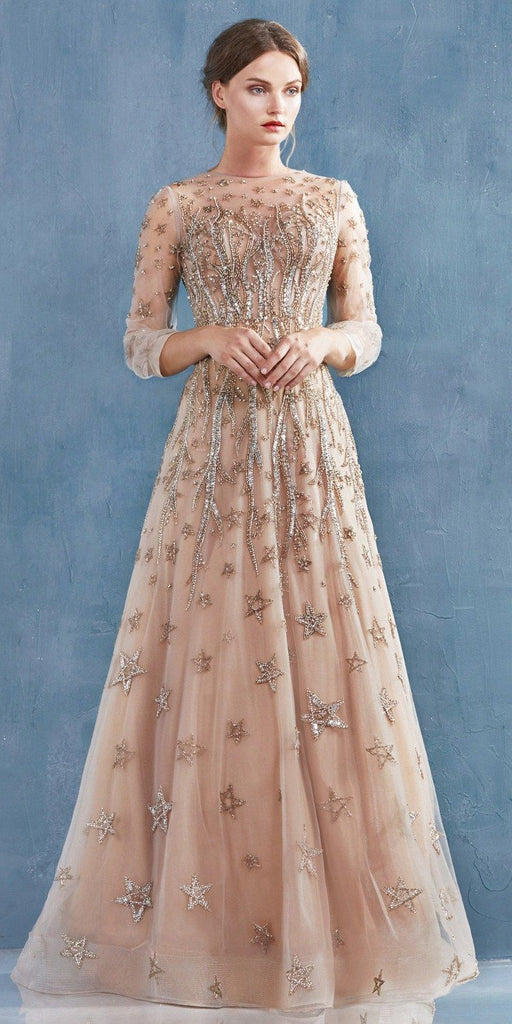 Champagne Embellished Long Prom Dress with Long Sleeves