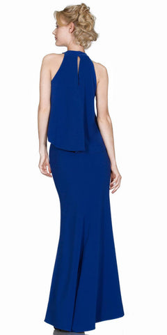Cinderella Divine A1602 SleevelessHalter Loose Top Two-Piece Prom Gown Royal Blue