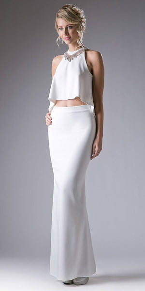 Sleeveless Halter Loose Top Two-Piece Prom Gown White