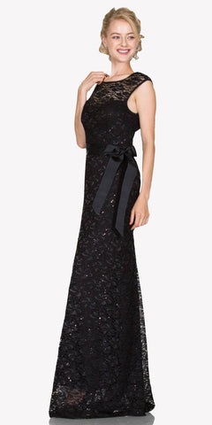 Cap Sleeves Lace Long Formal Sheath Dress with Ribbon Sash Belt Black