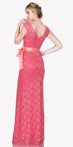 Cap Sleeves Lace Long Formal Sheath Dress with Ribbon Sash Belt Blush