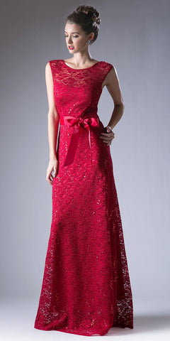 Cap Sleeves Lace Long Formal Sheath Dress with Ribbon Sash Belt Burgundy
