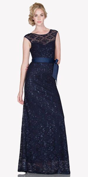 Cap Sleeves Lace Long Formal Sheath Dress with Ribbon Sash Belt Navy Blue