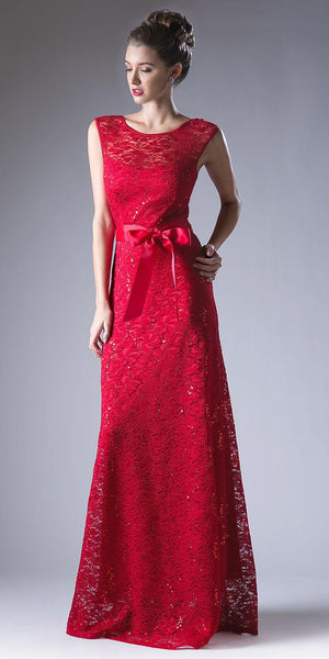 Cap Sleeves Lace Long Formal Sheath Dress with Ribbon Sash Belt Red