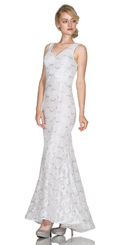 Cinderella Divine A1605 Lace Mermaid Sleeveless V-Neck Long Formal Dress Ivory
