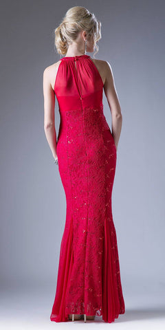 Halter High Neckline Long Formal Sheath Dress with Godets Red