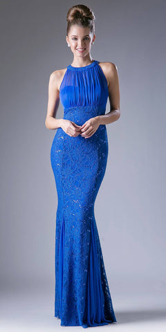 Halter High Neckline Long Formal Sheath Dress with Godets Royal Blue