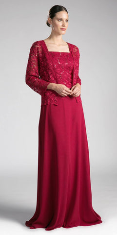 Cinderella Divine A1616 Burgundy A-Line Long Sleeve Lace Bolero Floor Length Formal Dress