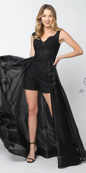 Black High-Low Prom Romper Dress with Cape Skirt