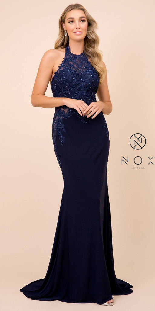 Nox Anabel A175 Long Navy Blue Dress Sheath Halter Sequin Lace Bodice