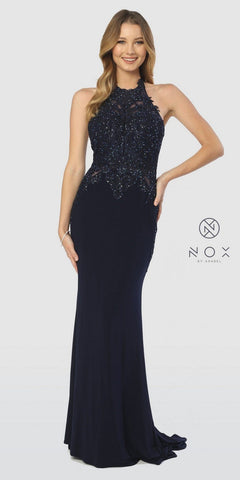 Halter Embellished Long Prom Dress Navy Blue