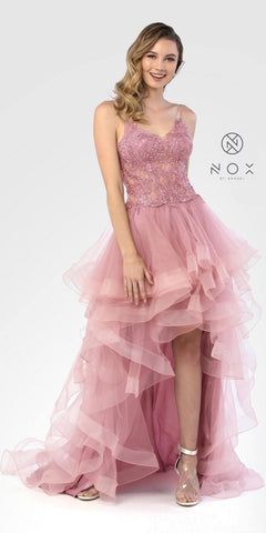 Mauve High and Low Tiered Prom Gown Appliqued Bodice