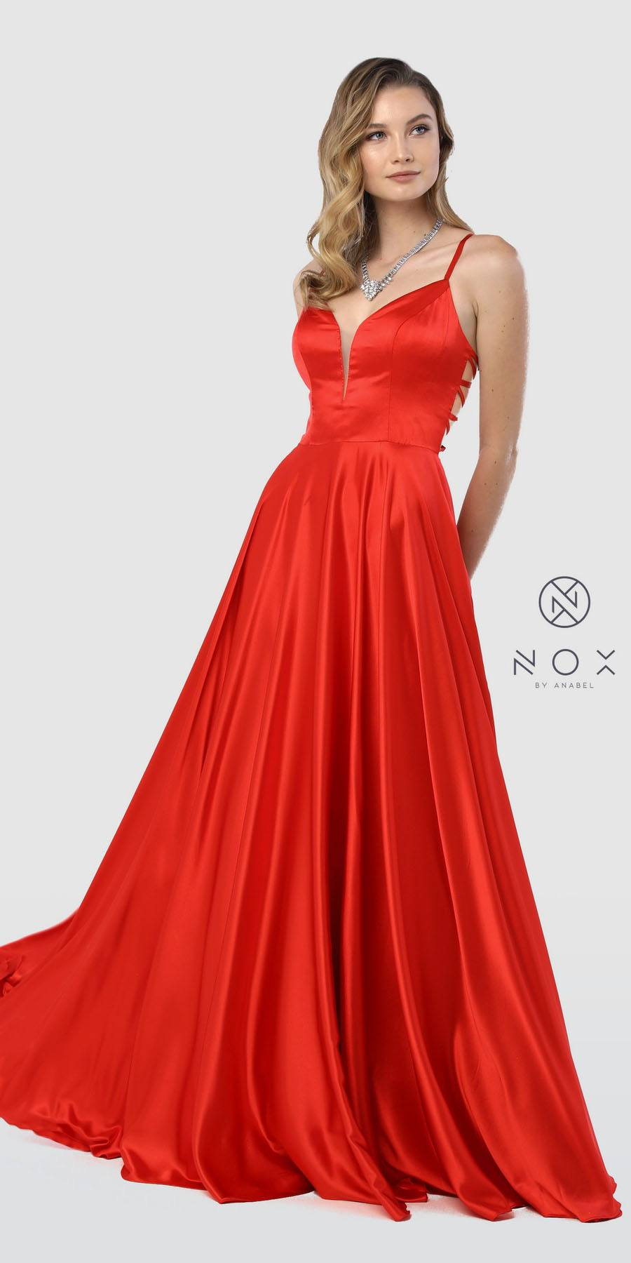 f1ecb285d Nox Anabel A180 Red A-Line Long Prom Dress Strappy Back with Pockets ...