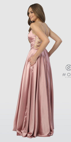 Rose A-Line Long Prom Dress Strappy Back with Pockets