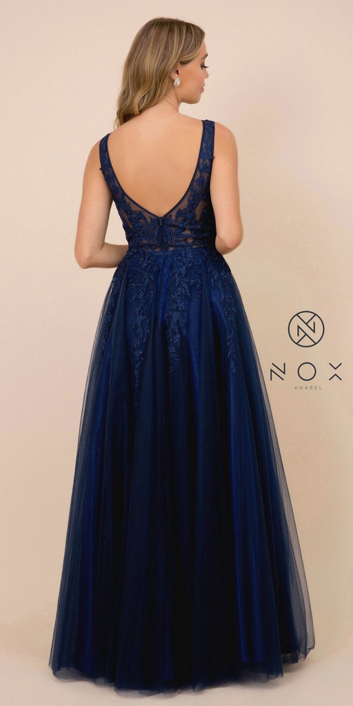 Navy Blue Appliqued Long Prom Dress with Open Back