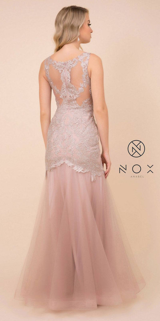 Mauve Mermaid Long Prom Dress with Lace Appliques