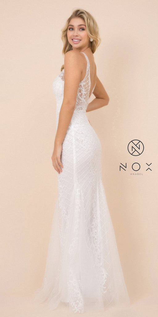 Embroidered Fit and Flare Long Prom Dress White