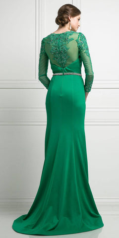 Green Long Formal Dress Appliqued Bodice Long Sleeves