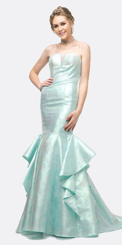 Cinderella Divine A5033 Strapless Jacquard Layered Mermaid Gown Mint V-Neckline And Train
