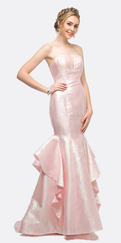 Cinderella Divine A5033 Strapless Jacquard Layered Mermaid Gown Pink V-Neckline And Train