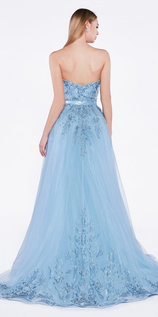 Strapless Long Prom Dress with Cape Skirt Dusty Blue