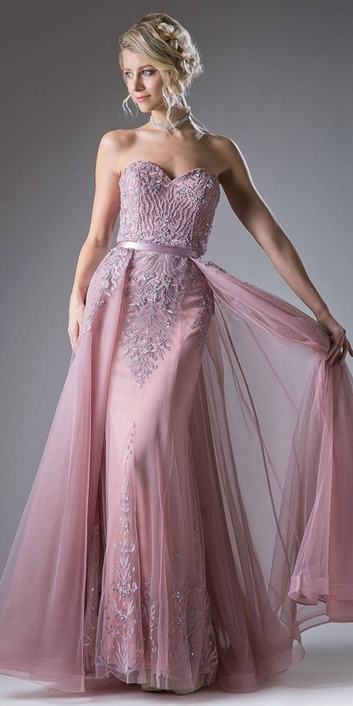 Strapless Long Prom Dress with Cape Skirt Dusty Rose