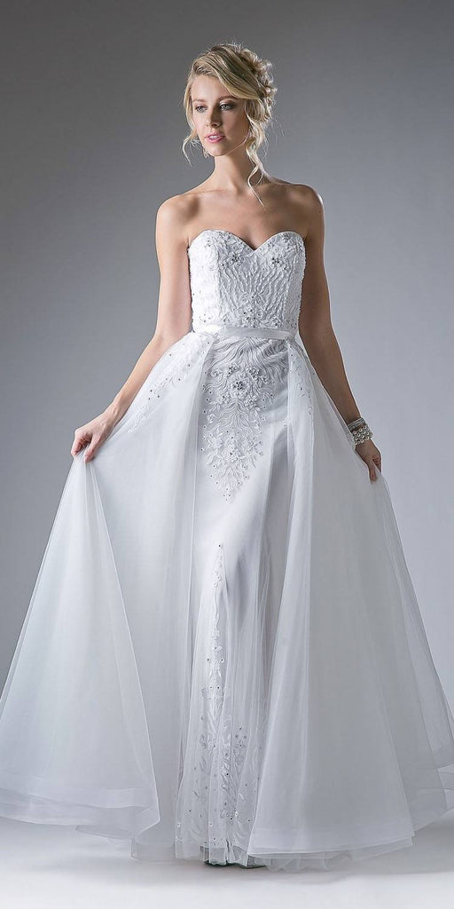 Strapless Long Prom Dress with Cape Skirt Off White