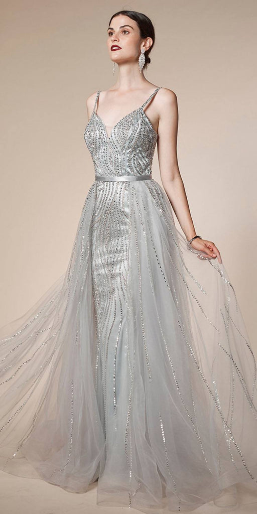 Andrea & Leo A5083 Long Glitz and Glamour Silver Formal Dress Tulle Overskirt Spaghetti Straps