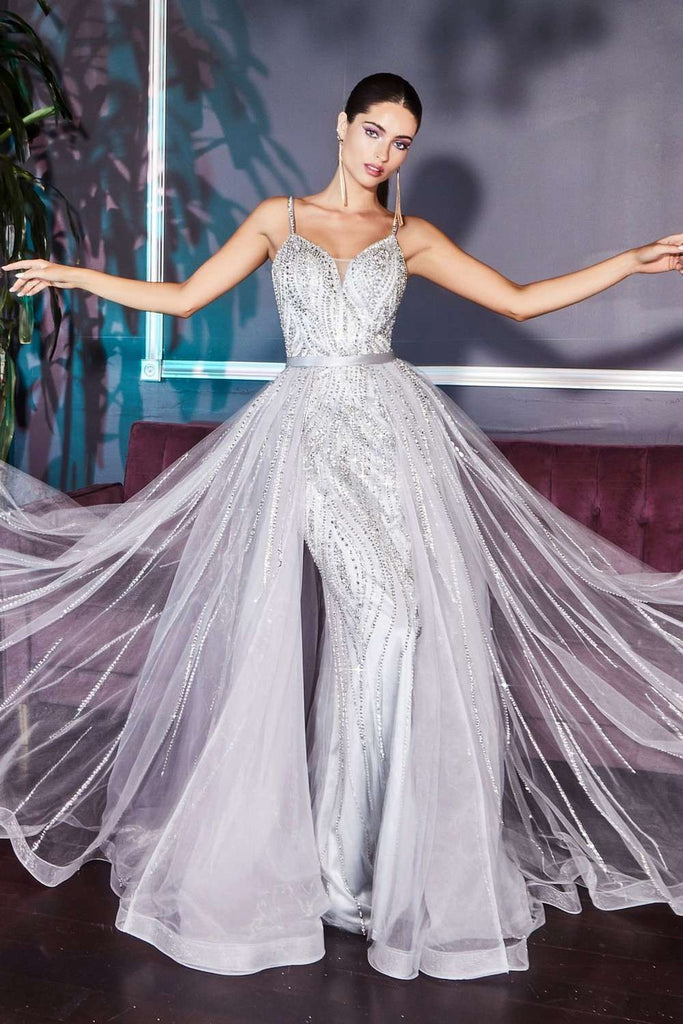 Cinderella Divine A5083 Long Glitz and Glamour Silver Formal Dress Tulle Overskirt Spaghetti Straps