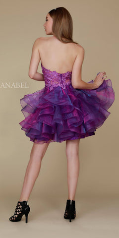 Nox A610 Short Magenta Homecoming Dress Halter Neck Ruffled Skirt Back View