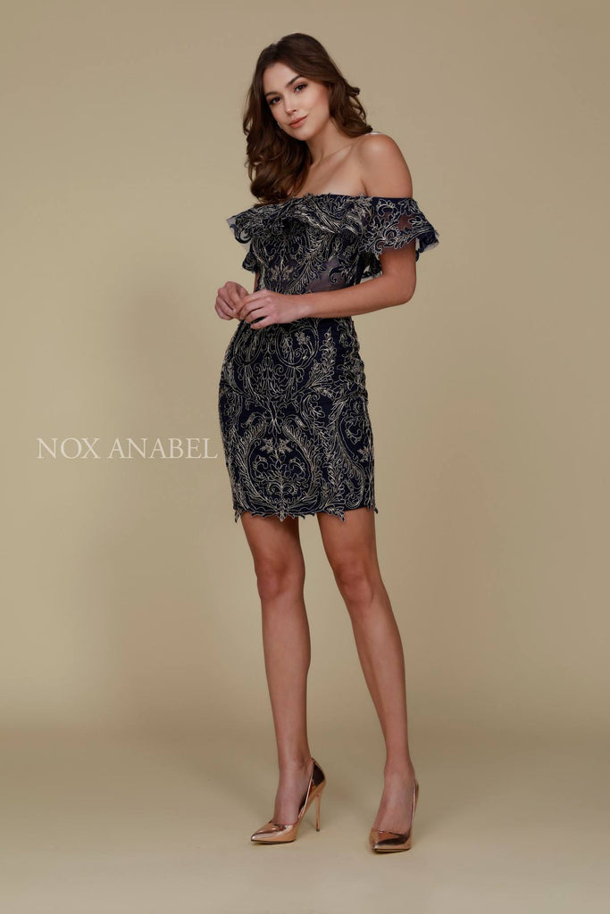 Short Strapless Lace Body Con Dress Navy Blue Sheer Panels