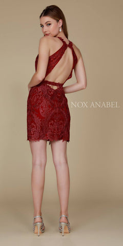 Halter Neckline Short Burgundy Cocktail Dress Open Back View