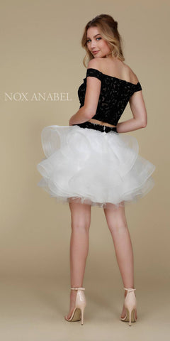 Short Homecoming 2 Piece Dress Black/White Tulle Poofy Skirt