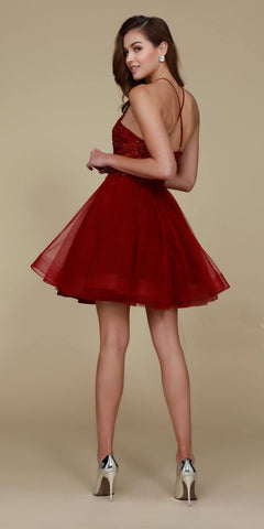 Halter Burgundy Homecoming Dress Lace Top Tulle Skirt Back View