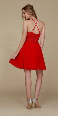 Nox Anabel A615 Halter Homecoming Dress Chiffon A Line Red Criss-Cross Back View