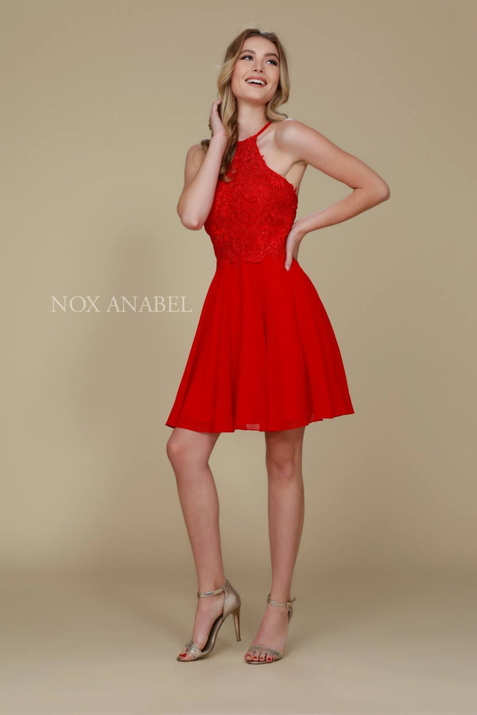 Nox Anabel A615 Halter Homecoming Dress Chiffon A Line Red Criss-Cross Back