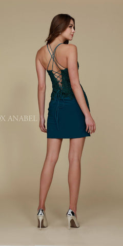 Short Cocktail Homecoming Dress Green Criss-Cross Back Back View