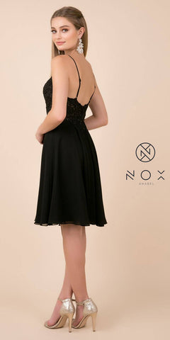 Nox Anabel A660 Knee Length Black Homecoming Dress Flowy Chiffon