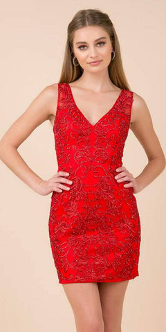 V-Neck and Back Appliqued Homecoming Short Dress Red
