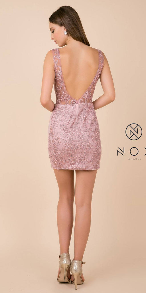 V-Neck and Back Appliqued Homecoming Short Dress Rose