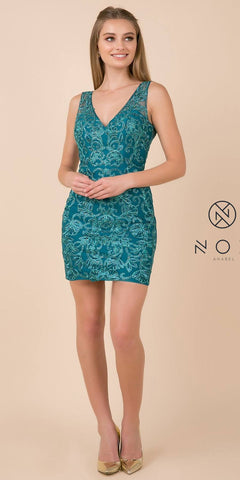 V-Neck and Back Appliqued Homecoming Short Dress Teal