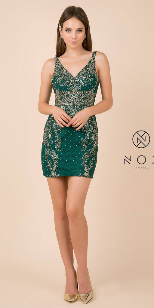 Fitted Green Embellished Homecoming Short Dress V-Neck