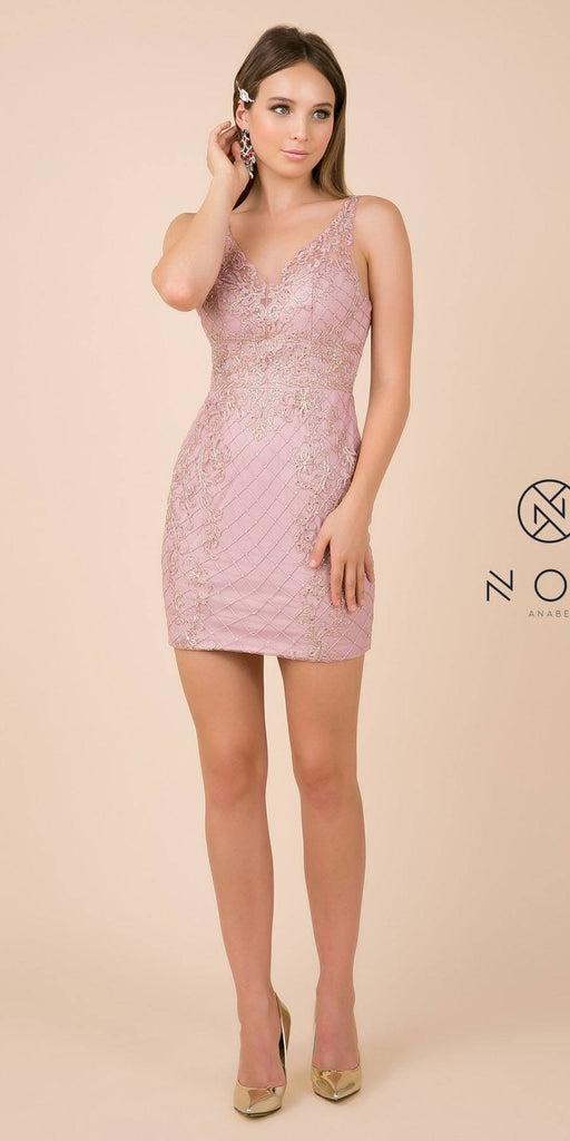 Fitted Rose Embellished Homecoming Short Dress V-Neck