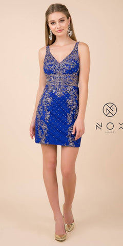 Fitted Royal Blue Embellished Homecoming Short Dress V-Neck